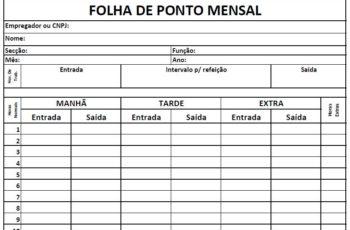 Imprimir Folha de Ponto Mensal Manual de Funcionários